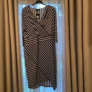 Striped black and white wrap look dress